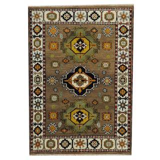 Herat Oriental Indo Hand-knotted Tribal Kazak Tan/ Navy Wool Rug (4'8 x 6'1)