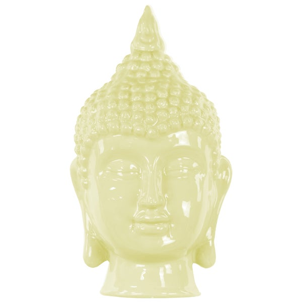 Gloss Lemon Chiffon Ceramic Buddha Head Decor
