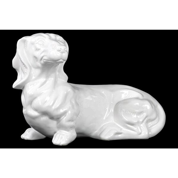 Gloss White Ceramic Laying Dachshund Dog
