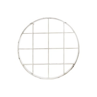 White Wood Wall Round Shelf with 16 Slots
