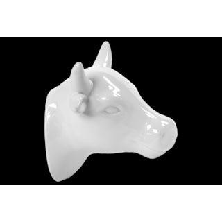 Gloss White Ceramic Cow Head Wall Decor