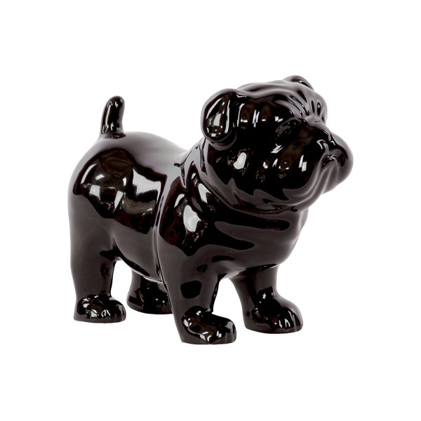 Black Ceramic Standing British Bulldog