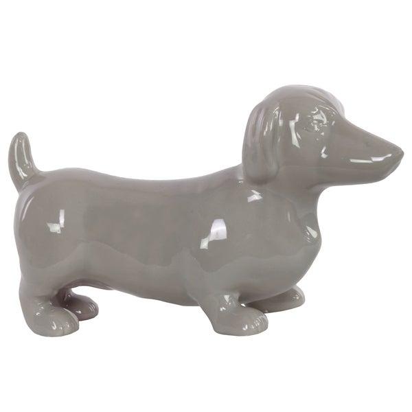 Gloss Grey Ceramic Standing Dachshund Dog