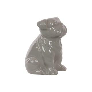 Gloss Grey Ceramic Sitting British Bulldog