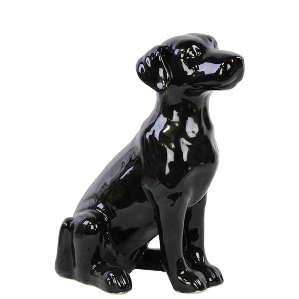 Gloss Black Ceramic Sitting Polish Hound Dog