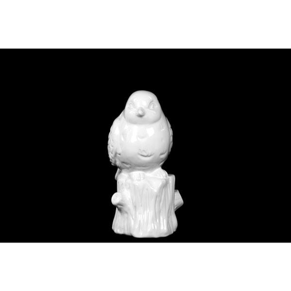 Gloss White Ceramic Bird on Tree Trunk