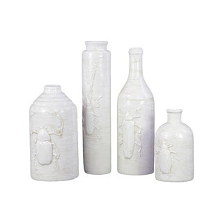Four White Ceramic Vase with Insect Relief (Set of 4)