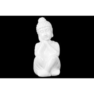 Gloss White Ceramic Sitting Buddha