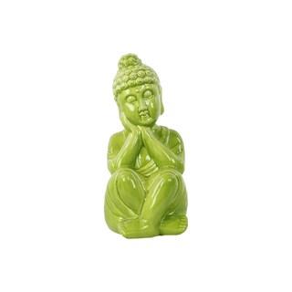 Gloss Yellow Green Ceramic Sitting Buddha