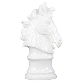 Gloss White Ceramic Horse Head Decor on Pedestal
