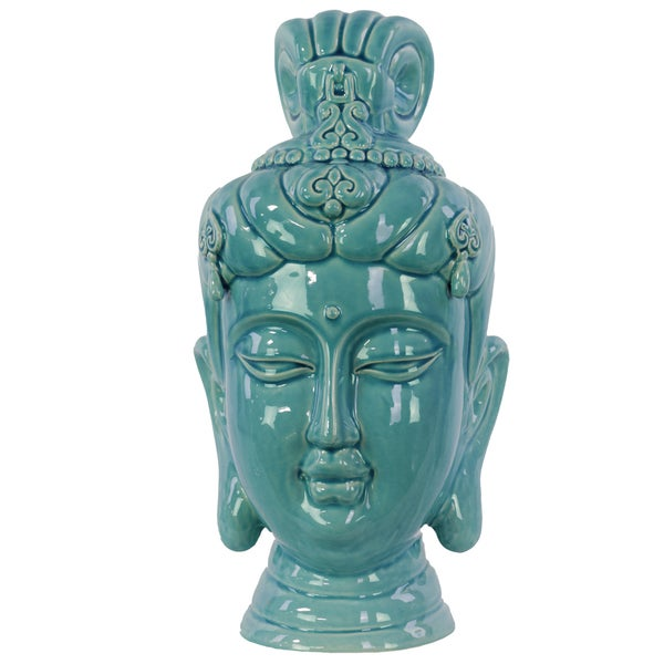 Gloss Cadet Blue Ceramic Buddha Head Decor