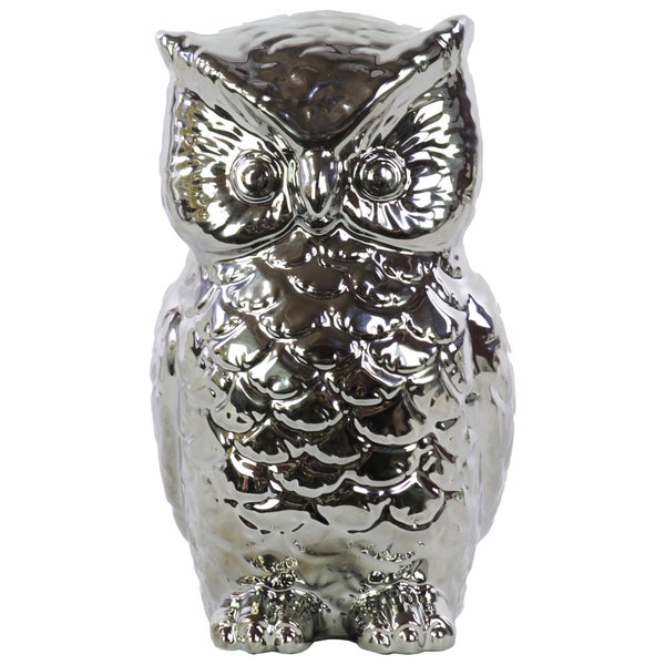 Chrome Silver Ceramic Owl