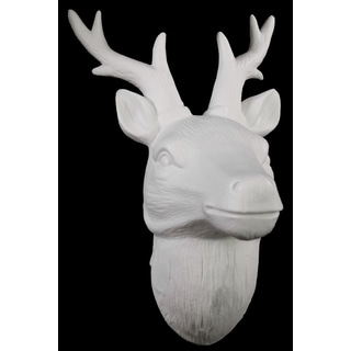 Matte White Porcelain Deer Head Wall Decor