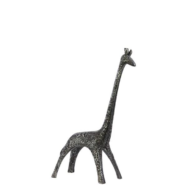 Hammered Black Resin Giraffe Figurine
