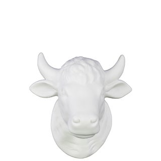 Matte White Ceramic Cattle Head wall Decor