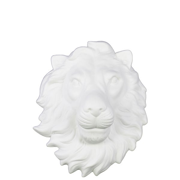 Matte White Ceramic Lion Head Wall Decor