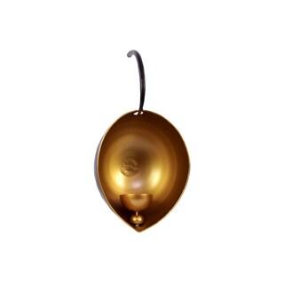 Matte Black Exterior Gold Metal Leaf Candleholder