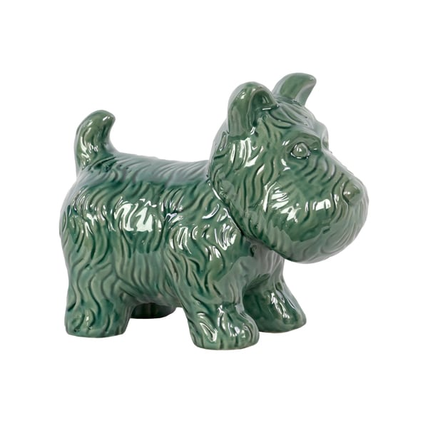 Gloss Turquoise Ceramic Standing Welsh Terrier Dog