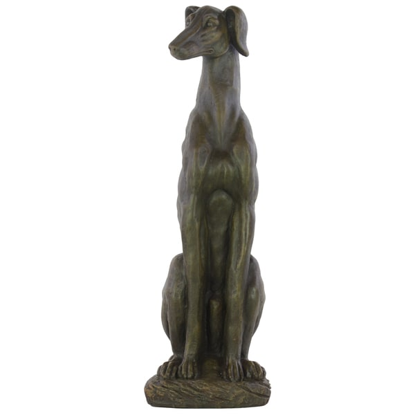 Espresso Brown Fiberstone Sitting Greyhound Dog