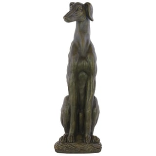 Espresso Brown Fiberstone Sitting Greyhound Dog