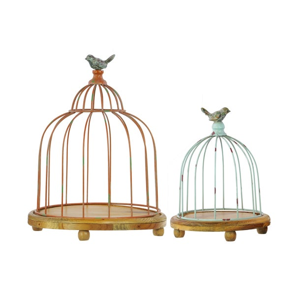 Natural Wood Finish Metal Bird Cage (Set of 2)