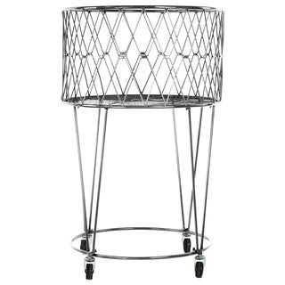Silver Metal Laundry Basket with Casters