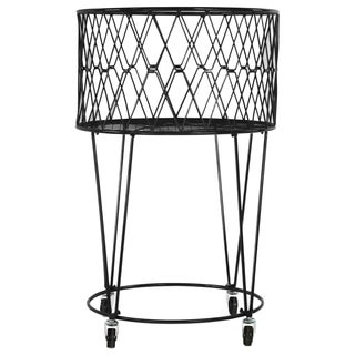 Black Metal Laundry Basket with Casters