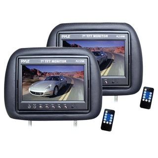 Pyle Black Dual Adjustable Headrests with Built-in 7-inch LCD Monitors (Refurbished)