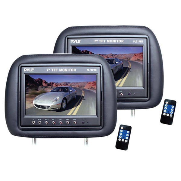 Pyle Black Dual Adjustable Headrests with Built-in 7-inch LCD Monitors (Refurbished) 14491025