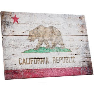 Vintage Wood California Flag