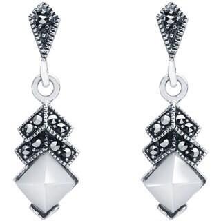 Blue Box Jewels Sterling Silver Mother of Pearl Chevron Dangle Earrings