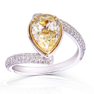 Annello 18k Two-Two Gold 2 1/2ct TDW Certified Fancy Light Yellow Pear Diamond Ring (FY, SI1)