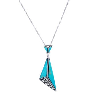 Blue Box Jewels Sterling Silver Slanted Turquoise Triangle Necklace