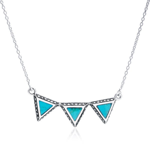 Blue Box Jewels Sterling Silver Turquoise Triple Triangle Necklace