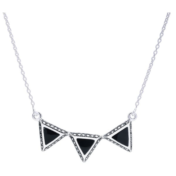 Blue Box Jewels Sterling Silver Onyx Triple Triangle Necklace 14491123