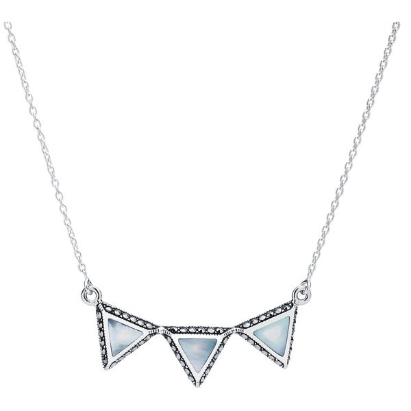 Blue Box Jewels Sterling Silver Mother of Pearl Triple Triangle Necklace 14491124