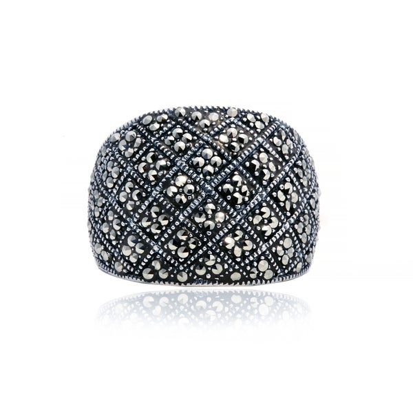 Blue Box Jewels Marcasite Patterned Ring