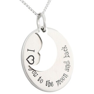 Stainless Steel I Love You To The Moon and Back Pendant