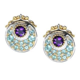 Michael Valitutti Palladium Silver Apatite And Amethyst Earrings