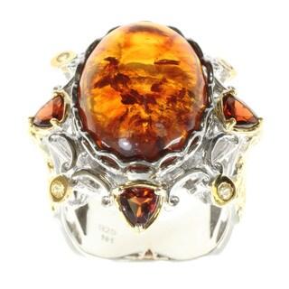 Michael Valitutti Amber, Garnet and Yellow Sapphire Ring