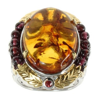 Michael Valitutti Amber, Garnet and Orange Sapphire Ring