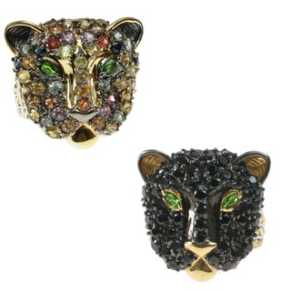 Michael Valitutti Multi Gemstone or Black Spinel Panther Ring