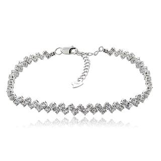 ICZ Stonez Sterling Silver Cubic Zirconia Star-studded Dazzle Tennis Bracelet