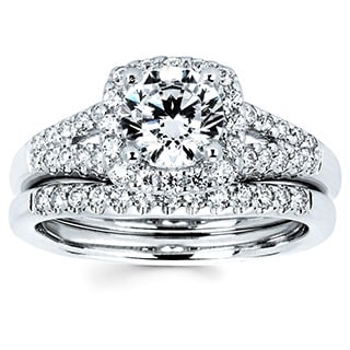 14k White Gold 1 1/2ct TDW Diamond Halo Bridal Set (I-J, I1-I2)
