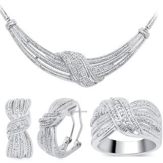 Rhodium over Brass 1/4ct TDW 3-piece Diamond Jewelry Set (I-J, I2-I3)