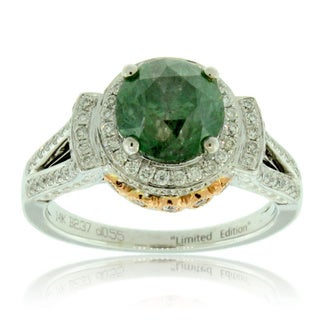 Suzy Levian 14k Two-tone Gold 2 7/8ct TDW Green and White Diamond Ring (G-H, SI1-SI2)
