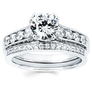 14k White Gold 1 5/8ct TDW Diamond Bridal Set (I-J, I1-I2)