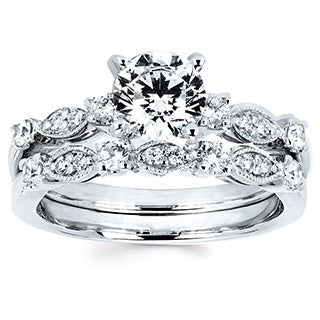 14k White Gold 1 3/8ct TDW Diamond Milgrain Bridal Set (I-J, I1-I2)