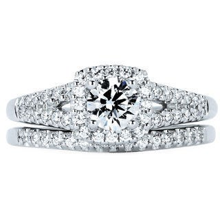 14k White Gold 7/8ct TDW Diamond Halo Bridal Set (I-J, I1-I2)