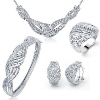 Divina Silvertone Brass 2ct TDW Diamond 4-piece Jewelry Set (I-J, I2-I3)